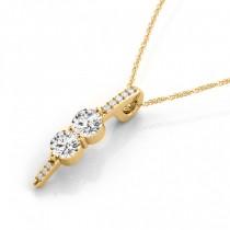 Two Stone Diamond Drop Pendant Necklace 14k Yellow Gold (0.34ct)