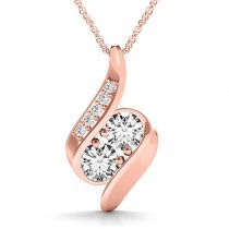Two Stone Swirl Diamond Pendant Necklace 14k Rose Gold (1.00ct)