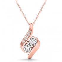 Two Stone Swirl Diamond Pendant Necklace 14k Rose Gold (1.00ct)