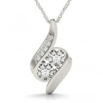 Two Stone Swirl Diamond Pendant Necklace 14k White Gold (1.00ct)