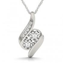 Two Stone Swirl Diamond Pendant Necklace 14k White Gold (1.00ct)