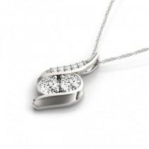 Two Stone Swirl Diamond Pendant Necklace 14k White Gold (1.00ct)|escape
