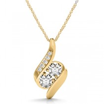 Two Stone Swirl Diamond Pendant Necklace 14k Yellow Gold (1.00ct)
