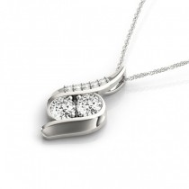 Two Stone Swirl Diamond Pendant Necklace 14k White Gold (0.25ct)