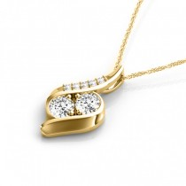 Two Stone Swirl Diamond Pendant Necklace 14k Yellow Gold (0.25ct)