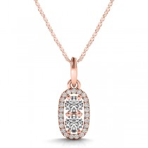 Halo Two Stone Diamond Pendant Necklace 14k Rose Gold (0.64ct)