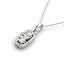 Halo Two Stone Diamond Pendant Necklace 14k White Gold (0.64ct)