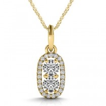 Halo Two Stone Diamond Pendant Necklace 14k Yellow Gold (0.64ct)