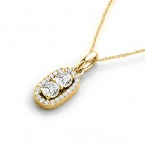 Halo Two Stone Diamond Pendant Necklace 14k Yellow Gold (0.64ct)