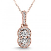 Double Halo Two Stone Diamond Pendant Necklace 14k Rose Gold (0.23ct)