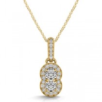 Double Halo Two Stone Diamond Pendant Necklace 14k Yellow Gold (0.23ct)