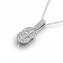 Double Halo Two Stone Diamond Pendant Necklace 14k White Gold (0.55ct)