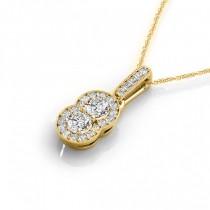 Double Halo Two Stone Diamond Pendant Necklace 14k Yellow Gold (0.55ct)