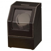 Black Leather & Suede Single Watch Winder w/ Display