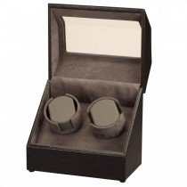Black Leather & Suede Dual Watch Winder w/ Display