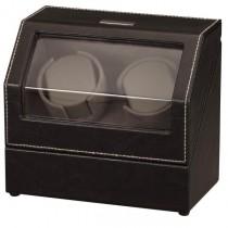 Black Leather & Suede Dual Watch Winder w/ Display