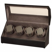 Black Leather & Suede Quad Watch Winder w/ Display