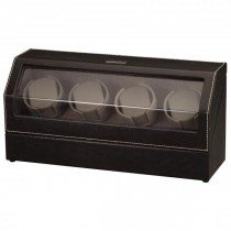 Black Leather & Suede Quad Watch Winder w/ Display|escape