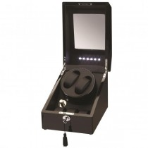 LED Black Wood Double Watch Winder w/ Additional Storage