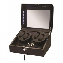 LED Black Wood Quad Watch Winder w/ Additional Storage