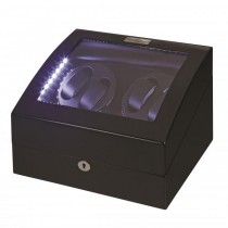 LED Black Wood Quad Watch Winder w/ Additional Storage|escape