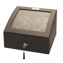LED Black Wood Quad Watch Winder w/ Additional Storage