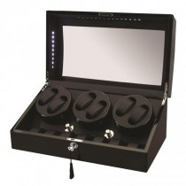 LED Black Wood Six Watch Winder w/ Additional Storage