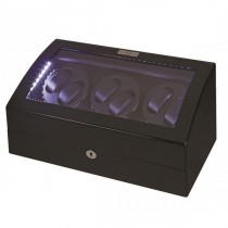 LED Black Wood Six Watch Winder w/ Additional Storage|escape