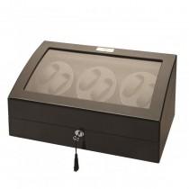 LED Black Wood Six Watch Winder w/ Additional Storage