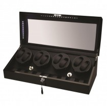 LED Black Wood Eight Watch Winder w/ Additional Storage