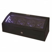LED Black Wood Eight Watch Winder w/ Additional Storage|escape