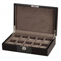 Black Wood & Carbon Fiber Accents 10 Watch Box