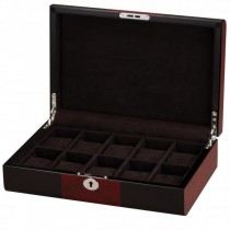 BlackWood & Cherry Wood Accents w/ Black Interior 10 Watch Box