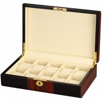 BlackWood & Cherry Wood Accents w/ Cream Interior 10 Watch Box