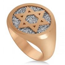 Raised Jewish Star of David Signet Ring for Men 14k Rose Gold