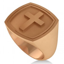 Raised Cross Signet Ring for Men Wide Band Polished 14k Rose Gold