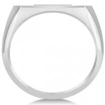 Raised Cross Signet Ring for Men Wide Band Polished 14k White Gold