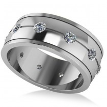 Men's Diamond Ring Eternity Wedding Band 14k White Gold (1.00ct)