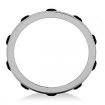 Men's Black Diamond Ring Eternity Wedding Band 14k White Gold (1.00ct)|escape