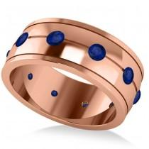 Men's Blue Sapphire Ring Eternity Wedding Band 14k Rose Gold (1.00ct)