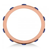 Men's Blue Sapphire Ring Eternity Wedding Band 14k Rose Gold (1.00ct)