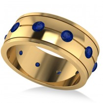 Men's Blue Sapphire Ring Eternity Wedding Band 14k Yellow Gold (1.00ct)