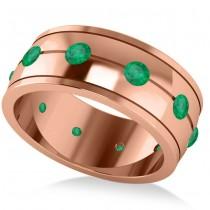 Men's Emerald Ring Eternity Wedding Band 14k Rose Gold (1.00ct)