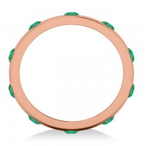 Men's Emerald Ring Eternity Wedding Band 14k Rose Gold (1.00ct)