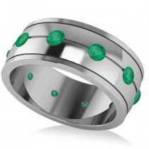 Men's Emerald Ring Eternity Wedding Band 14k White Gold (1.00ct)