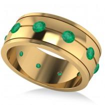Men's Emerald Ring Eternity Wedding Band 14k Yellow Gold (1.00ct)