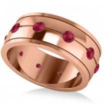 Men's Ruby Ring Eternity Wedding Band 14k Rose Gold (1.00ct)