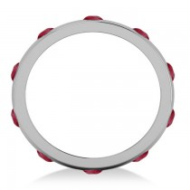 Men's Ruby Ring Eternity Wedding Band 14k White Gold (1.00ct)
