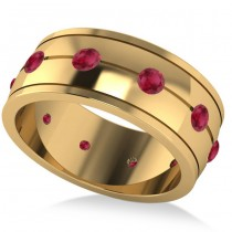 Men's Ruby Ring Eternity Wedding Band 14k Yellow Gold (1.00ct)