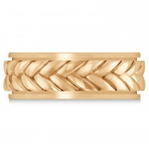 Men's Braided Band Eternity Ring 14k Rose Gold
